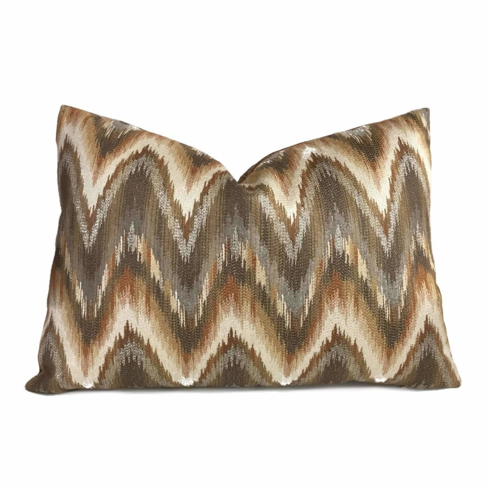 Kravet 32525 612 Copper Brown Beige Gray Cream Flame Stitch Bargello Ikat Chevron Pillow Cover by Aloriam