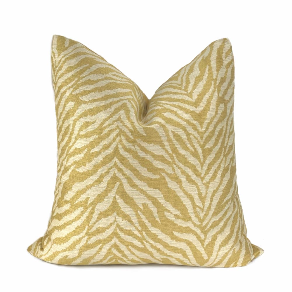 Kravet Faux Tiger Animal Stripe Yellow Gold Cream Pillow Cushion Cover (Clearance) - Aloriam