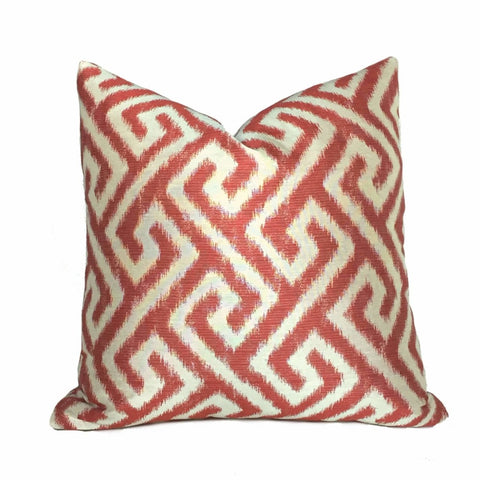 Kravet Geometric Greek Key Ikat Red Ivory Pattern Pillow Cushion Cover Cushion Pillow Case Euro Sham 16x16 18x18 20x20 22x22 24x24 26x26 28x28 Lumbar Pillow 12x18 12x20 12x24 14x20 16x26 by Aloriam
