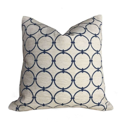 Kravet Geometric Interlinked Circles Blue Ivory Cream Pillow Cover by Aloriam