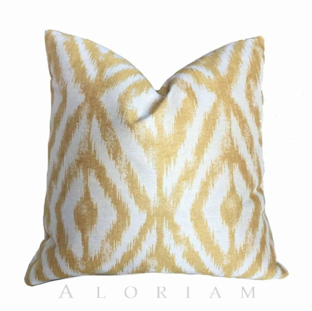 Kravet Ikat Diamond Gold Yellow Cream Geometric Pillow Cover Cushion Pillow Case Euro Sham 16x16 18x18 20x20 22x22 24x24 26x26 28x28 Lumbar Pillow 12x18 12x20 12x24 14x20 16x26 by Aloriam