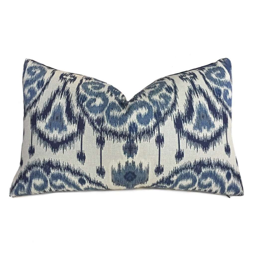 Kravet Ikat Ethnic Medallion Motif Blue Light Beige Pillow Cover, Fits 16x26 Cushion Inserts by Aloriam