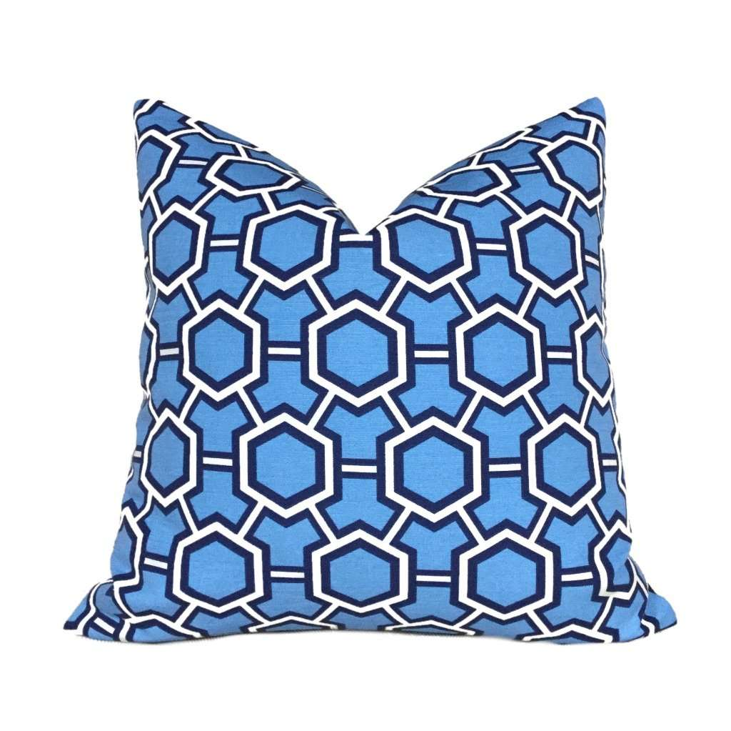 Kravet Jonathan Adler Blue Geometric Gears Pillow Cover