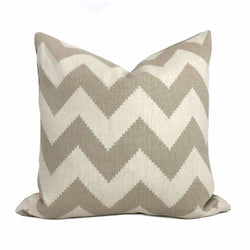 Kravet Jonathan Adler Limitless Pebble Beige Cream Chevron Stripe Pillow Cover