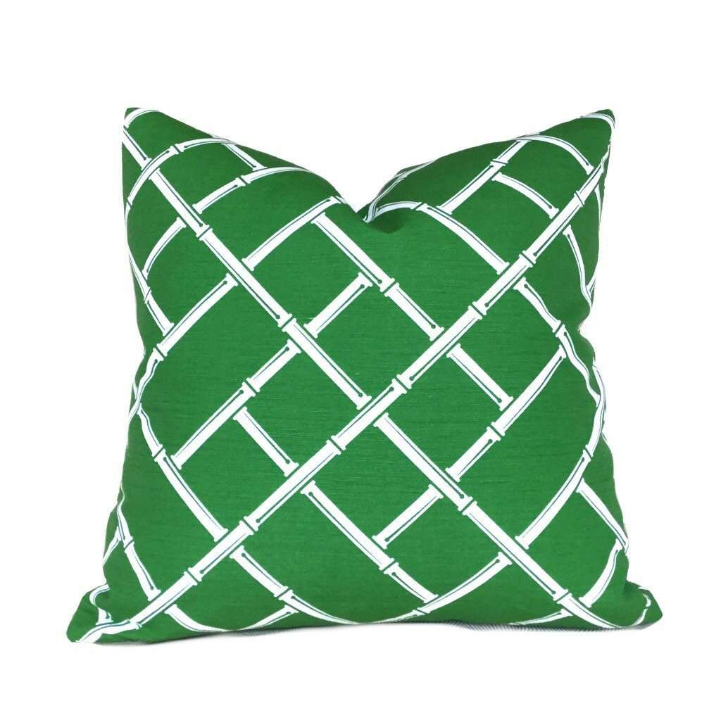 Kravet Jonathan Adler Postino Green White Bamboo Lattice Chinoiserie Geometric Pillow Cover by Aloriam