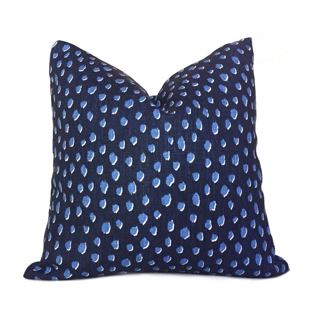 Kravet Kate Spade Fauna Navy Blue Animal Spots Small Dots Pillow Cover by Aloriam