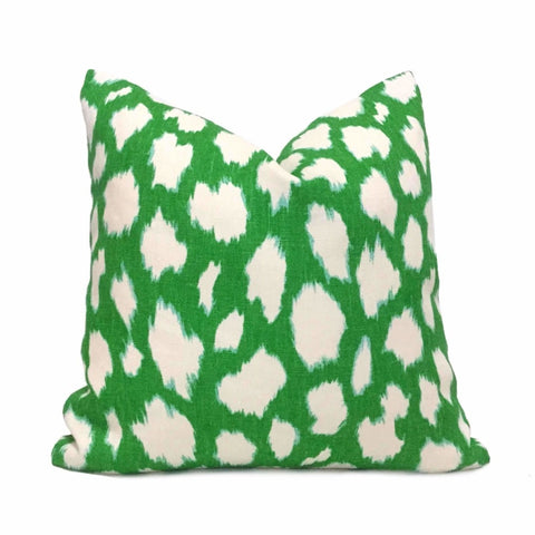Kravet Kate Spade Kelly Green Modern Jungle Cat Spotted Pillow Cover