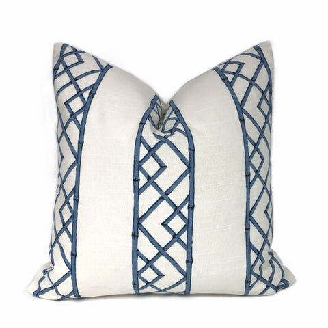 Kravet Latticely Ultramarine Blue White Trellis Linen Pillow Cover - Aloriam