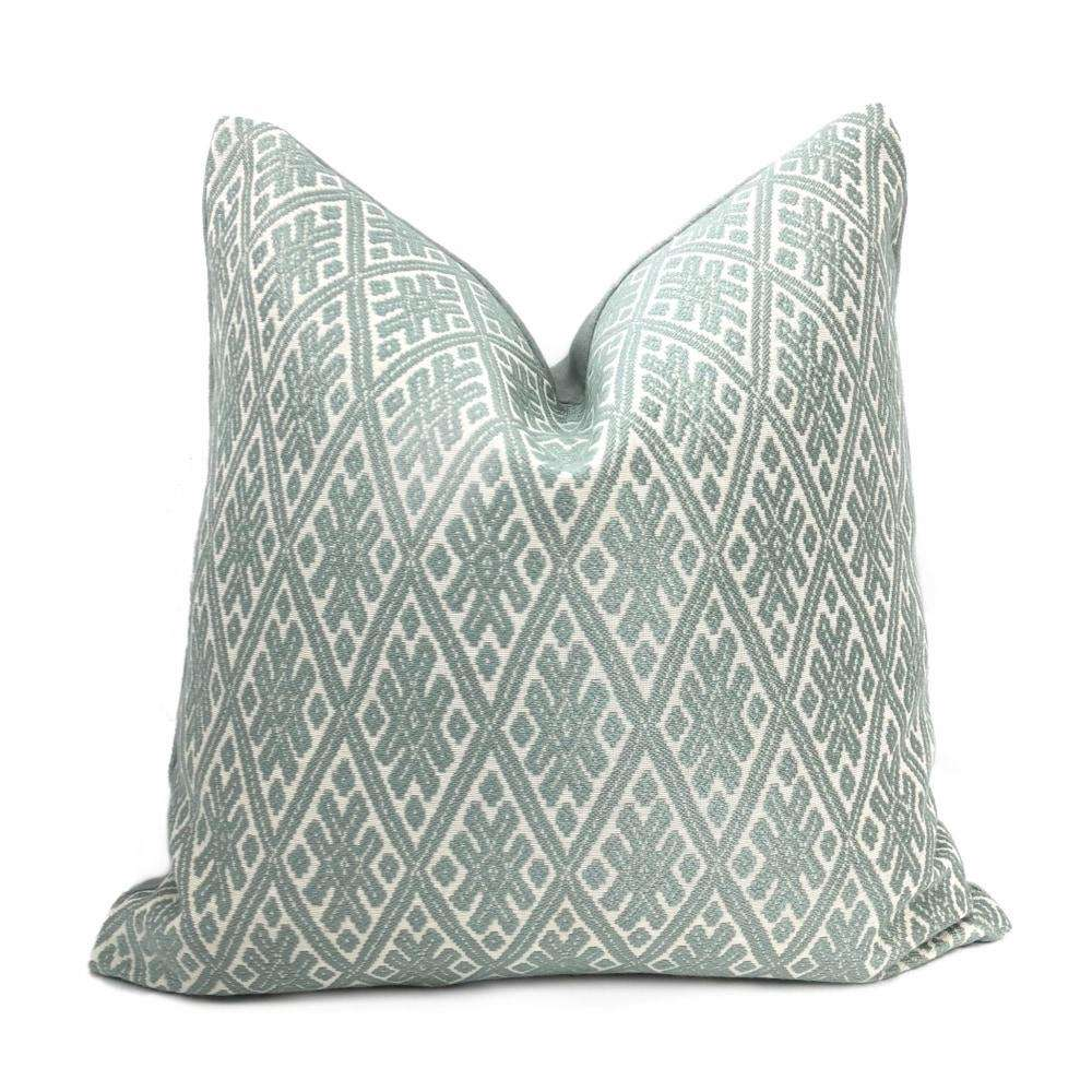 Kravet Marmari Spa Seaglass Green Tribal Diamond Pillow Cover