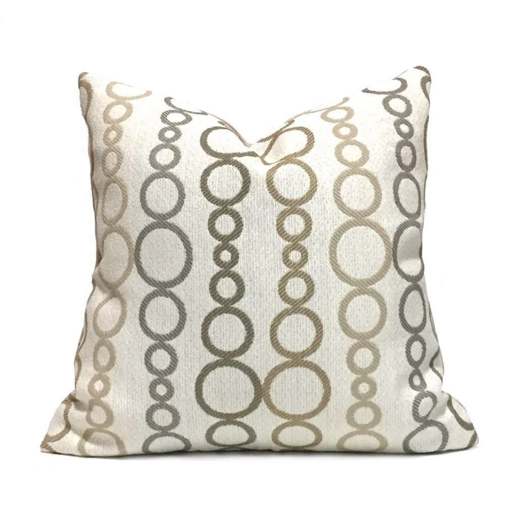Kravet Modern Geometric Circles Tan Beige Cream Pillow Cover