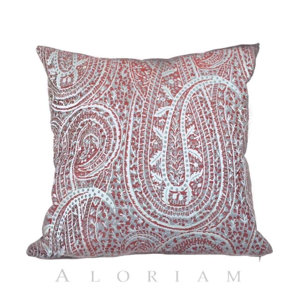 Kravet Red Gray Cream Paisley Pillow Cover