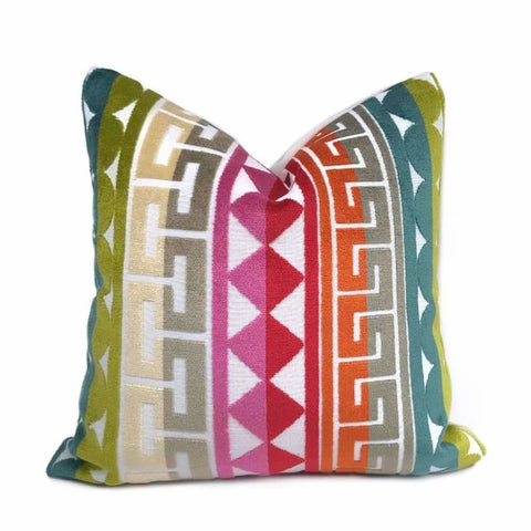 Kravet Seurat Confetti Jonathan Adler Multicolor Cut Velvet Geometric Stripe Pillow Cover Cushion Pillow Case Euro Sham 16x16 18x18 20x20 22x22 24x24 26x26 28x28 Lumbar Pillow 12x18 12x20 12x24 14x20 16x26 by Aloriam