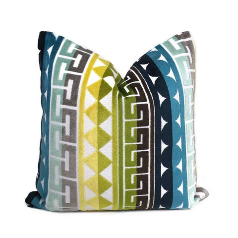 Kravet Seurat Seaside Jonathan Adler Multicolor Cut Velvet Geometric Stripe Pillow Cover Cushion Pillow Case Euro Sham 16x16 18x18 20x20 22x22 24x24 26x26 28x28 Lumbar Pillow 12x18 12x20 12x24 14x20 16x26 by Aloriam