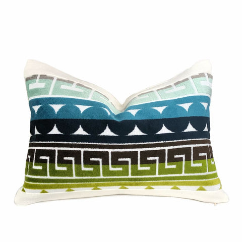 Kravet Seurat Seaside Jonathan Adler Multicolor Cut Velvet Lumbar Pillow Cover - Aloriam