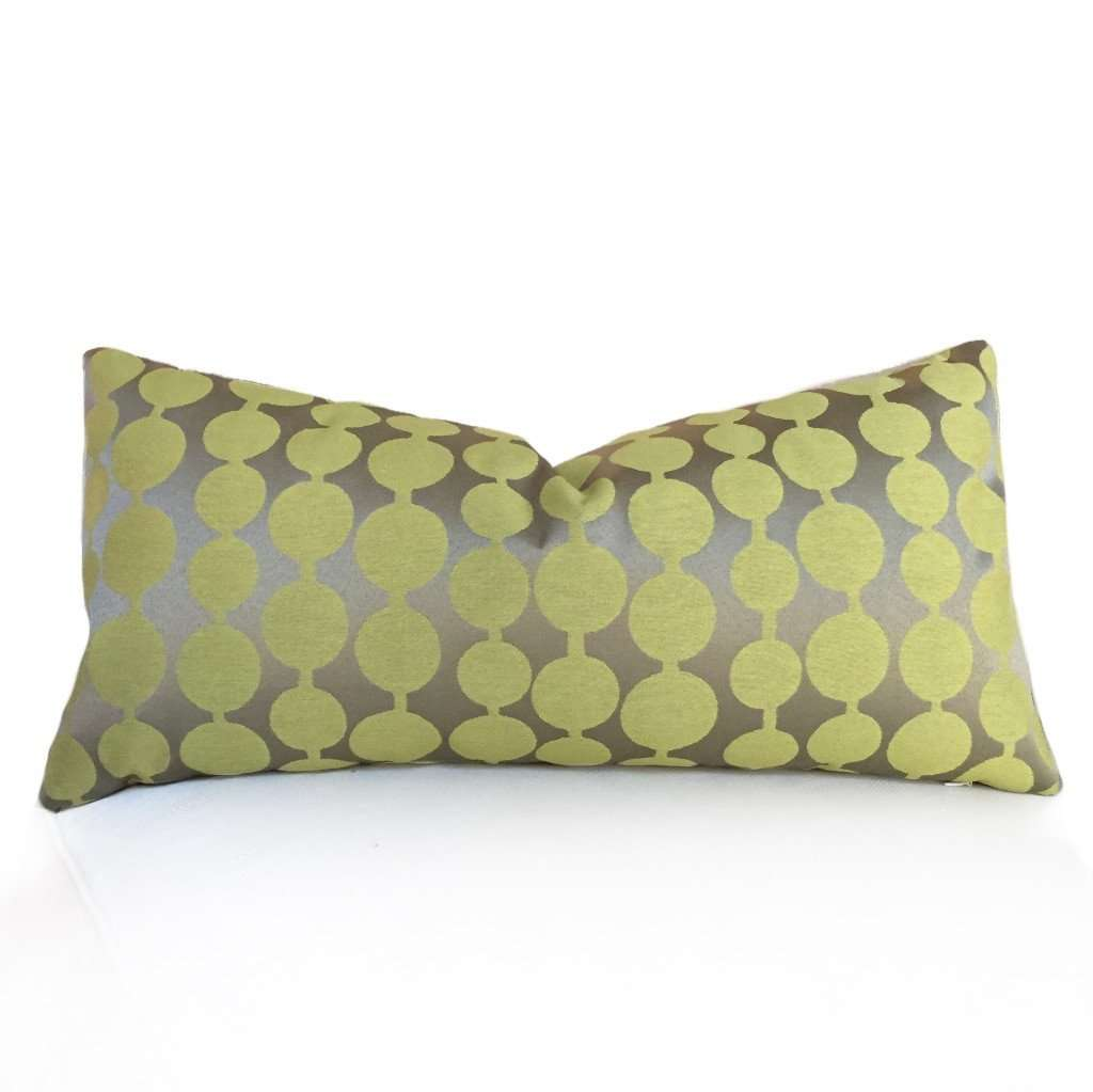 Kravet String Along Opal Chartreuse Yellow Green Tan Modern Contemporary Circles Pillow Cover