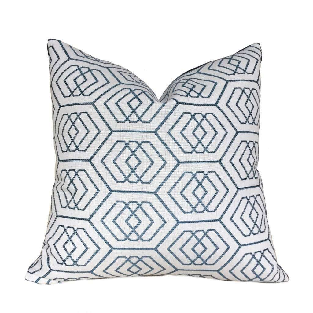 "Kravet Modern Geometric Hexagon Blue Off-White Pillow Cover, Fits 12x20 12x24 14x20 16x26 16"" 18"" 20"" 22"" 24"" Cushions"