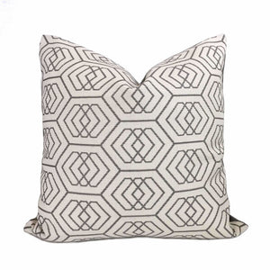 Kravet Thom Filicia Fiscoe Steel Geometric Hexagon Pillow Cover by Aloriam