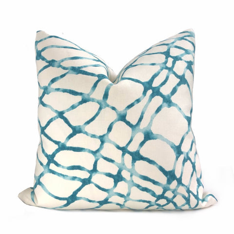 Kravet Waterpolo Lagoon Teal Green White Jeffrey Alan Marks Designer Linen Pillow Cover - Aloriam