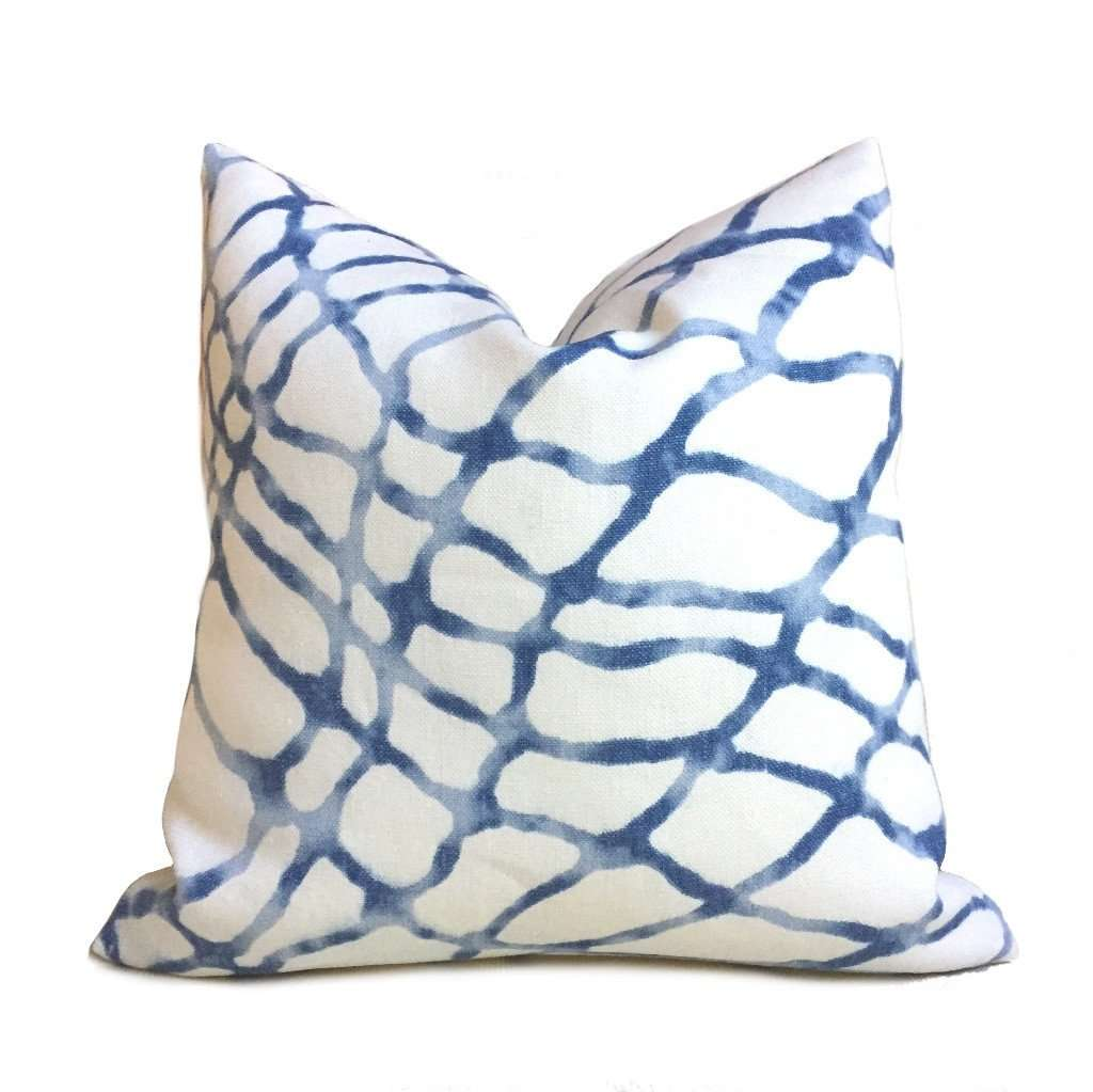 Kravet Waterpolo River Blue White Jeffrey Alan Marks Designer Linen Pillow Cover by Aloriam