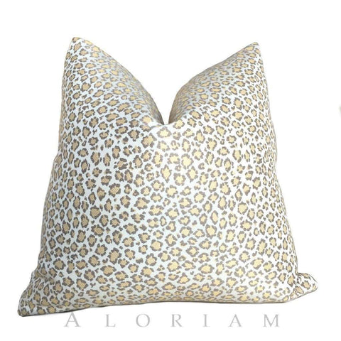 Fabricut Cheetah Leopard Jungle Cat Yellow Cream Gray Spots Pillow Cushion Cover