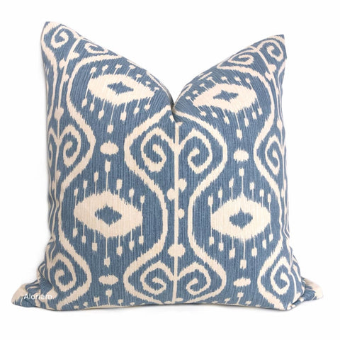 Kubla Denim Blue Cream Ikat Ethnic Print Pillow Cover - Aloriam