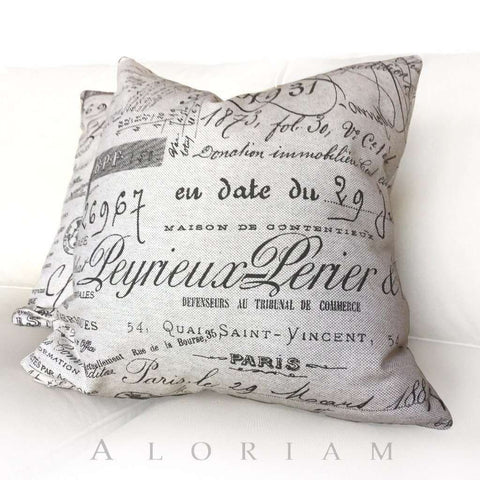 Ballard French Document Script Calligraphy Beige Brown Pillow Cushion Cover