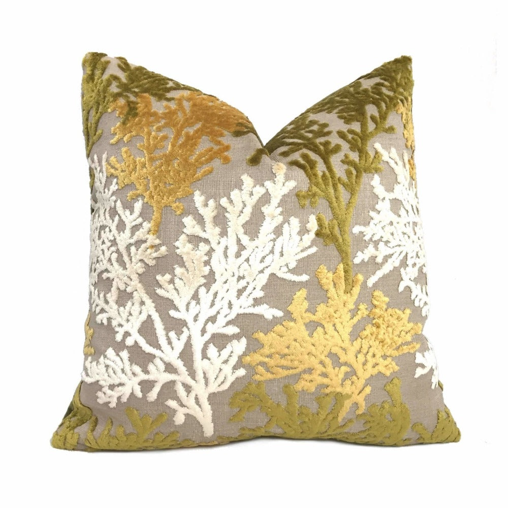 Designer Coral Reef Cut Velvet Lagoon Yellow Cream Green Beige Pillow Cover by Aloriam