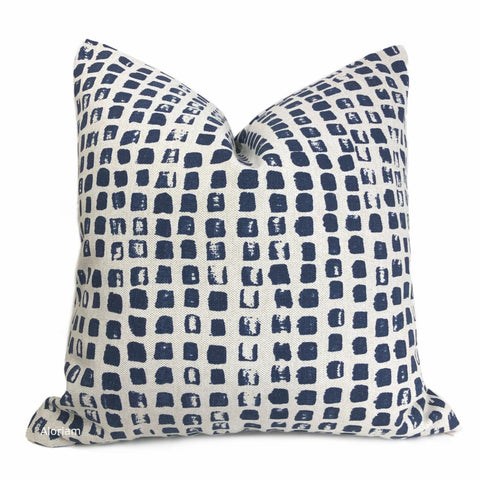 Langley Navy Blue Modern Block Print Pillow Cover - Aloriam