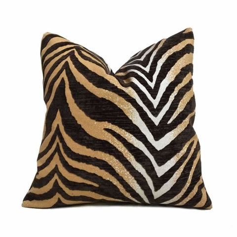Large Animal Tiger Zebra Stripe Brown Golden Tan Cut Velvet Pillow Cushion Cover Cushion Pillow Case Euro Sham 16x16 18x18 20x20 22x22 24x24 26x26 28x28 Lumbar Pillow 12x18 12x20 12x24 14x20 16x26 by Aloriam