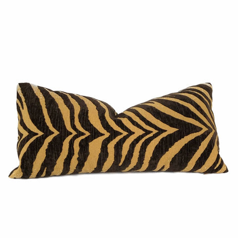 Large Animal Tiger Zebra Stripe Brown Golden Tan Velvet Pillow Cover (CLEARANCE) - Aloriam