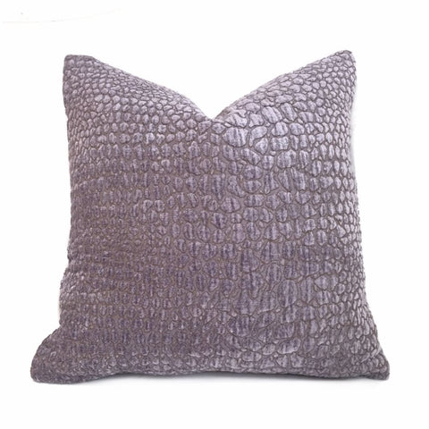 Lavender Purple Alligator Chenille Pillow Cover - Aloriam