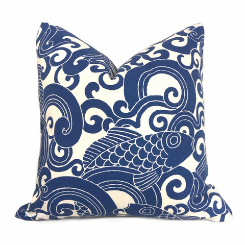Leaping Fishes Blue White Indoor Outdoor Pillow Cover - Aloriam