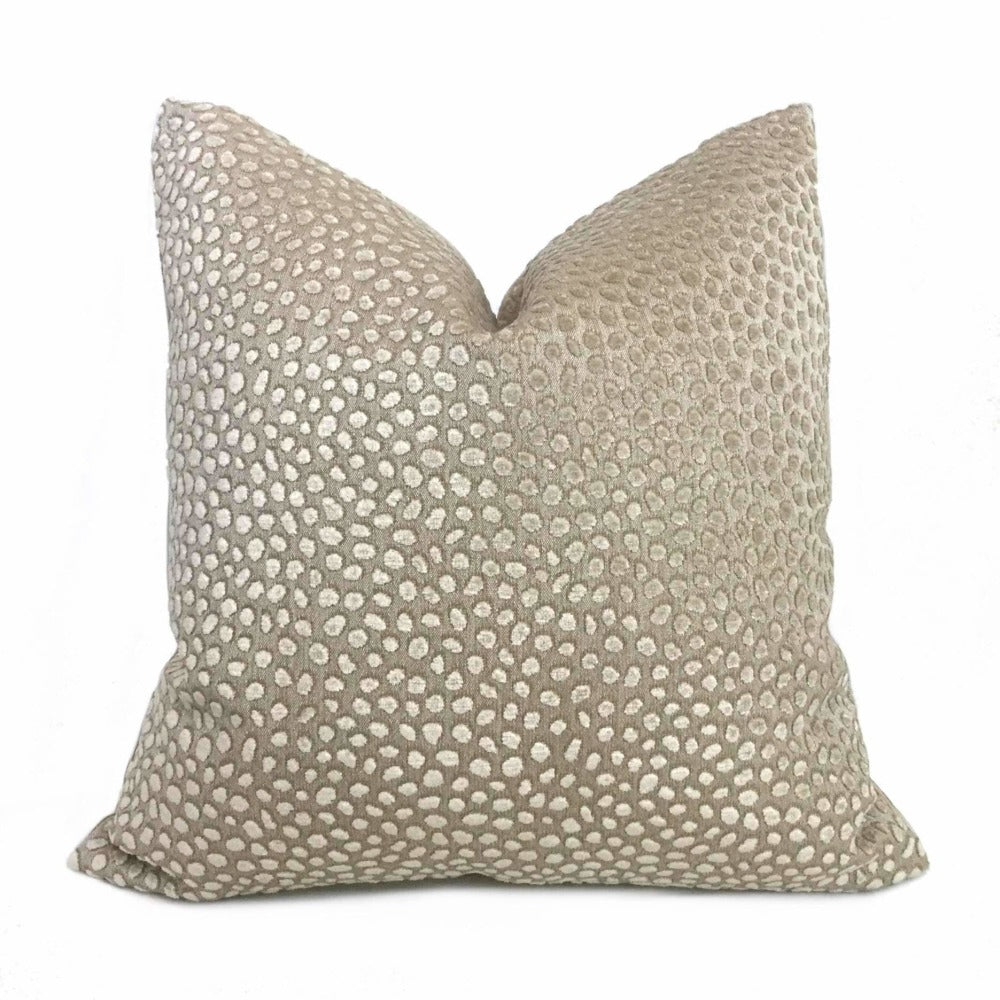 Lee Jofa Baker Lifestyles Cosma Oatmeal Beige Cut Velvet Dots Pillow Cover Cushion Pillow Case Euro Sham 16x16 18x18 20x20 22x22 24x24 26x26 28x28 Lumbar Pillow 12x18 12x20 12x24 14x20 16x26 by Aloriam