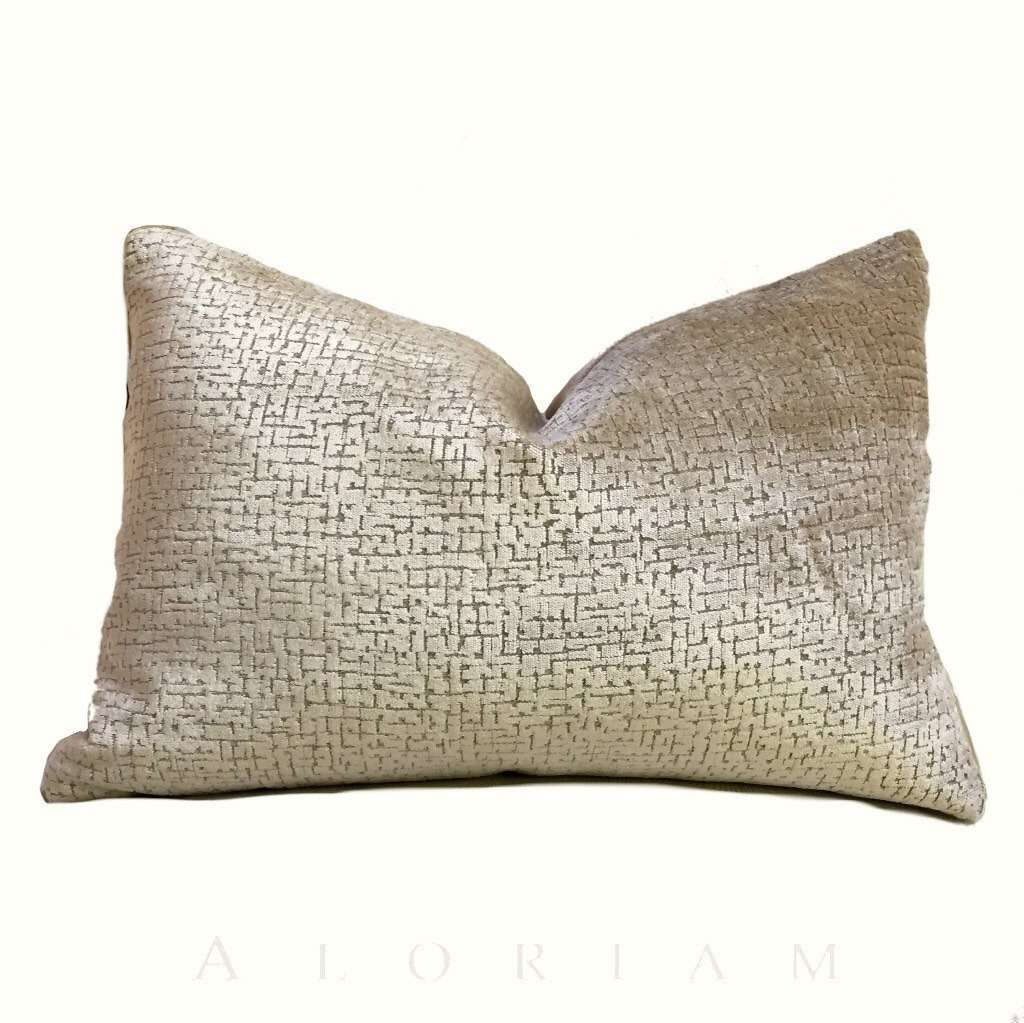Lee Jofa Threads Calisto Parchment Light  Brown Beige Textured Velvet Pillow Cover