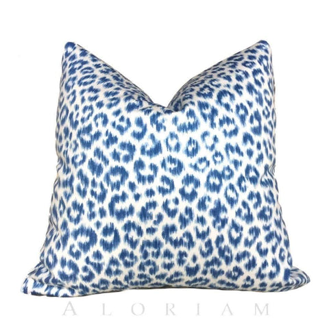 Leopard Cheetah Animal Blue White Cotton Print Pillow Cover Cushion Pillow Case Euro Sham 16x16 18x18 20x20 22x22 24x24 26x26 28x28 Lumbar Pillow 12x18 12x20 12x24 14x20 16x26 by Aloriam
