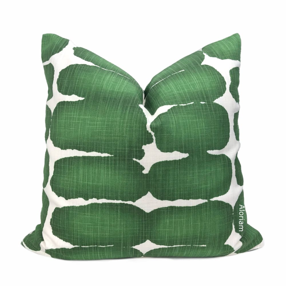 Leto Green White Paint Dabs Modern Cotton Print Pillow Cover - Aloriam