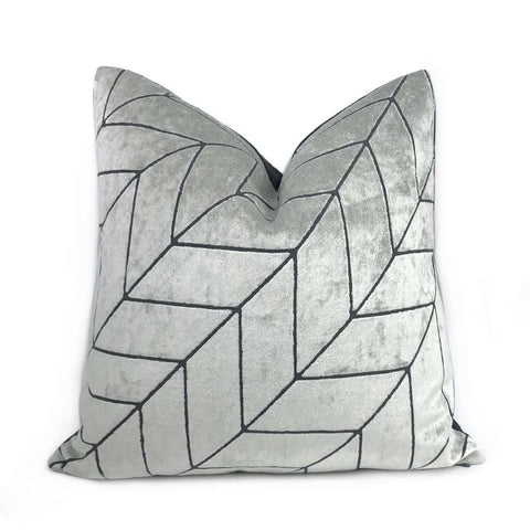Leyland Silver Gray Diagonal Chevron Velvet Pillow Cover Cushion Pillow Case Euro Sham 16x16 18x18 20x20 22x22 24x24 26x26 28x28 Lumbar Pillow 12x18 12x20 12x24 14x20 16x26 by Aloriam