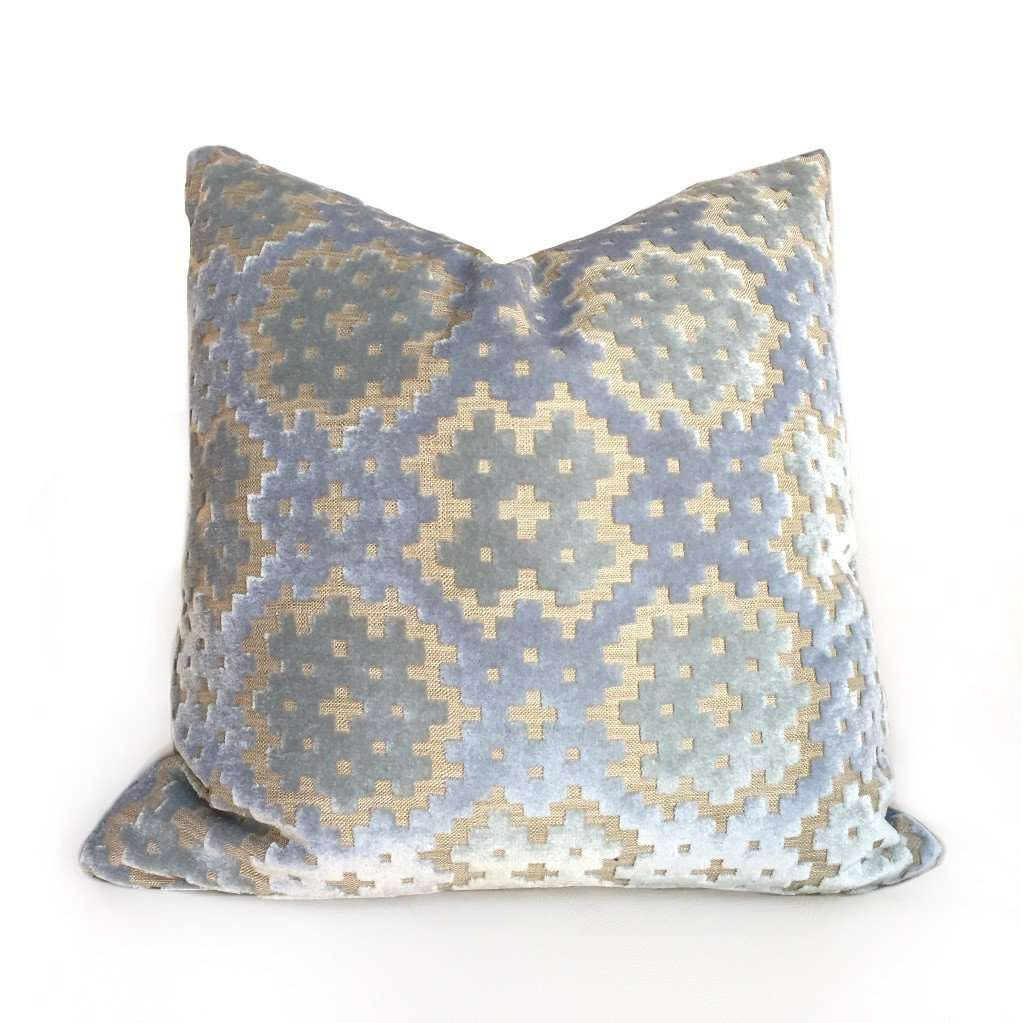Light Blue Green Geometric Mosaic Cut Velvet Pillow Cover by Aloriam