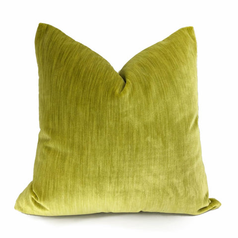 Lime Chartreuse Green Strie Velvet Pillow Cover - Aloriam