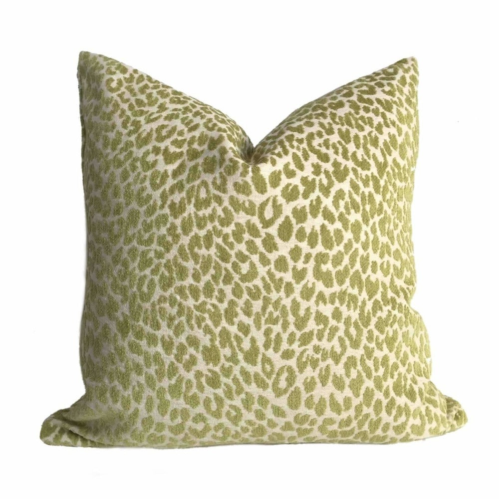 Lime Green Leopard Spots Chenille Pillow Cover