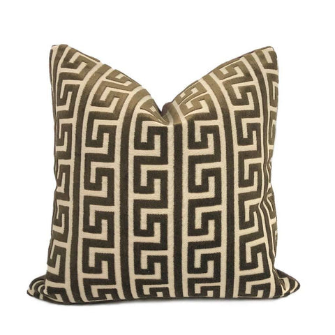 Logan Brown Greek Key Stripe Cut Velvet Pillow Cover Cushion Pillow Case Euro Sham 16x16 18x18 20x20 22x22 24x24 26x26 28x28 Lumbar Pillow 12x18 12x20 12x24 14x20 16x26 by Aloriam