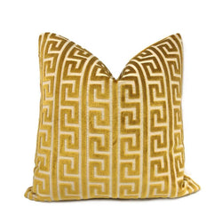 Logan Gold Greek Key Stripe Cut Velvet Pillow Cover Cushion Pillow Case Euro Sham 16x16 18x18 20x20 22x22 24x24 26x26 28x28 Lumbar Pillow 12x18 12x20 12x24 14x20 16x26 by Aloriam