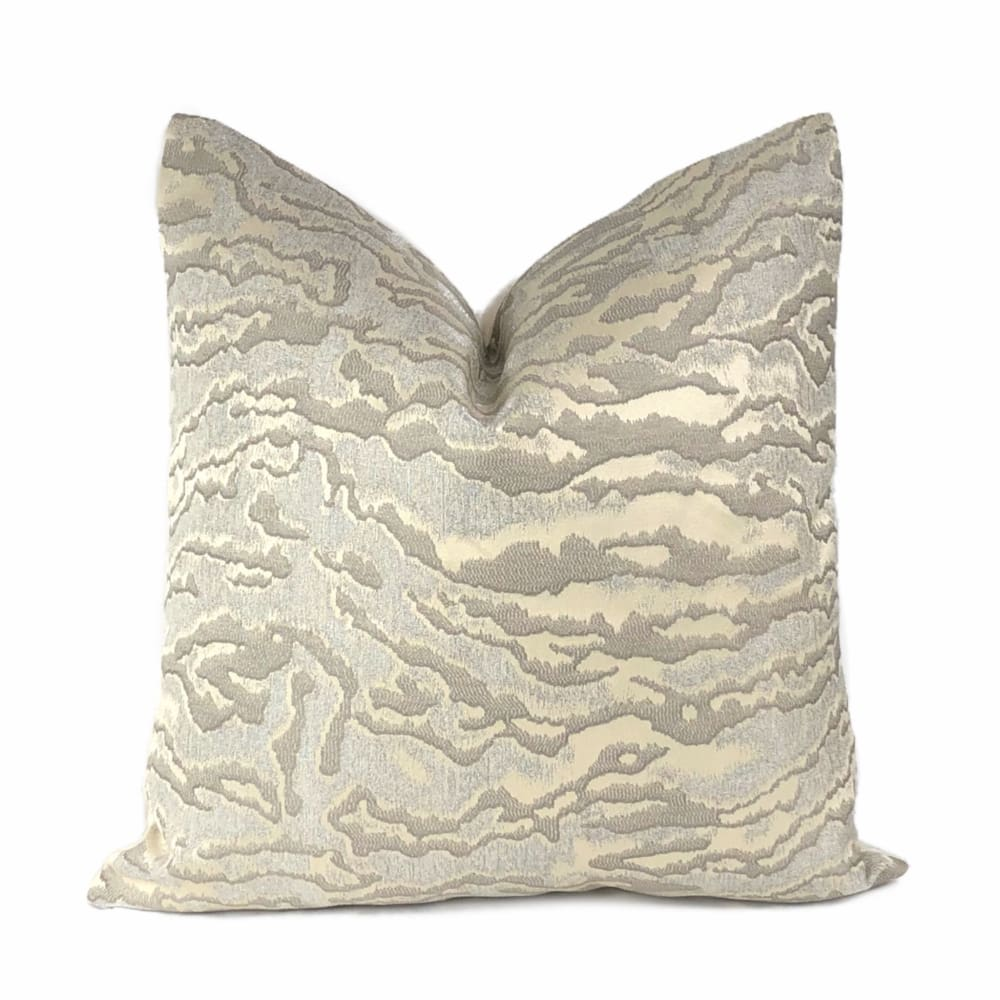 Lucca Ivory & Metallic Silver Tiger Stripe Pillow Cover - Aloriam