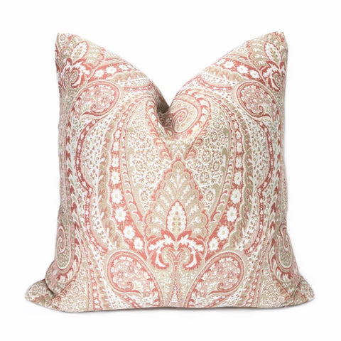 Lucia Cameo Pink & Cream Paisley Pillow Cover