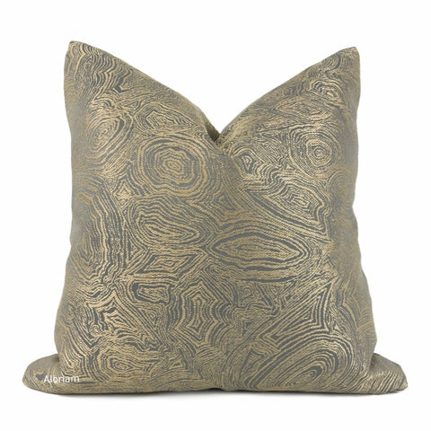 Lucian Gold Gray Agate Geology Pillow Cover - Aloriam