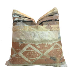 Luxor Antiquity Archeology Earth Tones Ikat Ethnic Pillow Cover