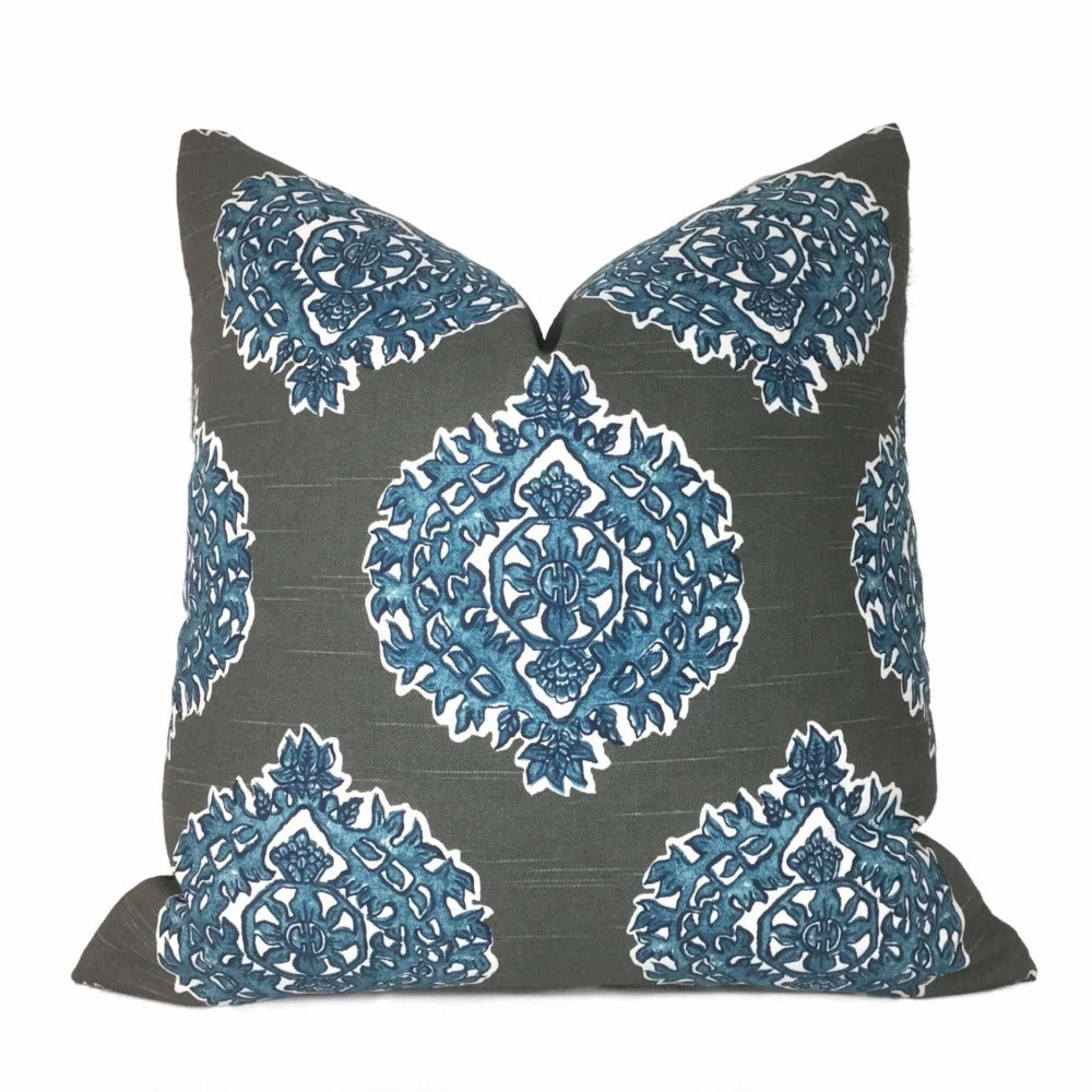 Madras Blue Gray Ethnic Motif Pillow Cover (Made from Lacefield Designs fabric) Cushion Pillow Case Euro Sham 16x16 18x18 20x20 22x22 24x24 26x26 28x28 Lumbar Pillow 12x18 12x20 12x24 14x20 16x26 by Aloriam