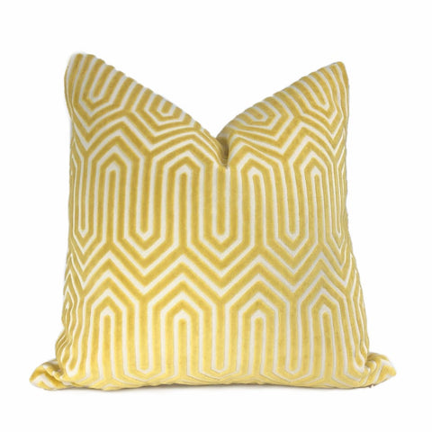 Maestro Geometric Buttercup Yellow Cut Velvet Pillow Cover - Aloriam