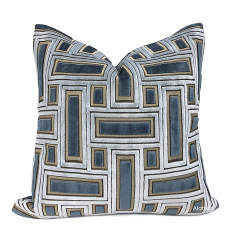Magnus Blue & Silver Geometric Blocks Cut Velvet Pillow Cover - Aloriam