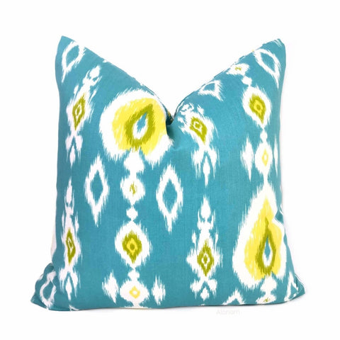 Malabar Turquoise Blue Yellow White Ikat Pillow Cover